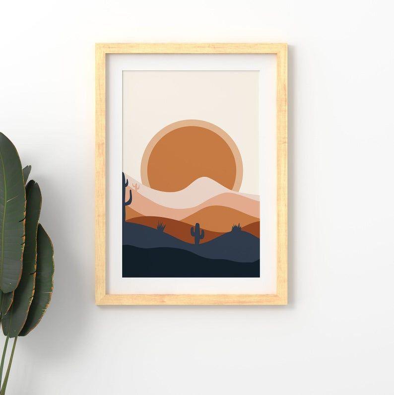 Desert Print Landscape Art Southwestern Decor Blue Orange Sun | Etsy
