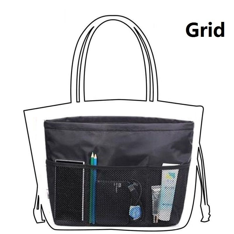 Black Organizer Bag With Multi Pockets Purse Compartments Handbag Inserts Compartment Separators