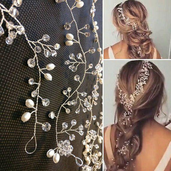 2018 extra long pearl wedding hair wrap crystal bridal hair vine