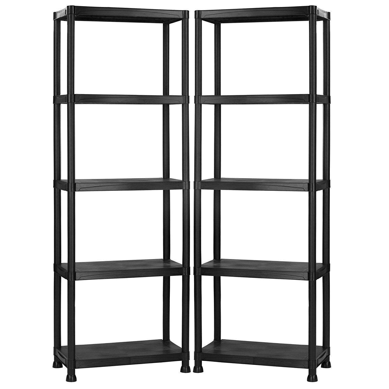 Vonhaus 4 tier garage shelving unit with wall brackets pack of 2 black plastic interlocking utility storage shelves each unit 52 x 24 x 12 inches