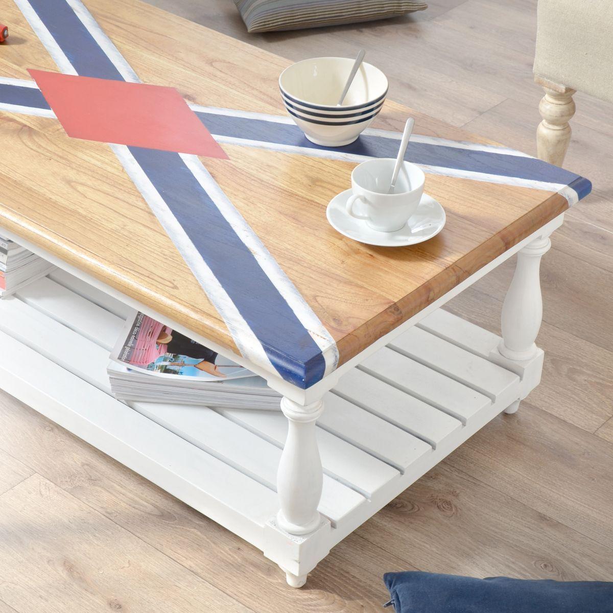 Table Basse En Pin Repeinte En Blanc Rayures Et Plateau