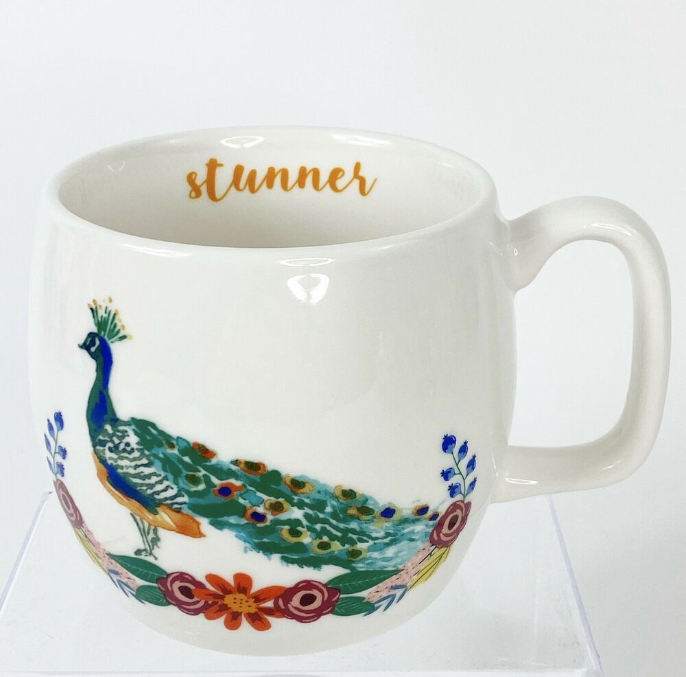 Peacock Stunner Coffee Mug Cup Opalhouse Porcelain 16 Ounce Colorful Opalhouse Vintage Cups Mugs Tea Mugs