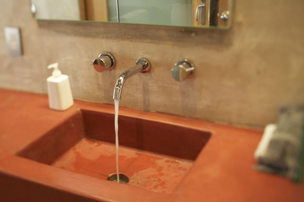 Red Concrete Sink