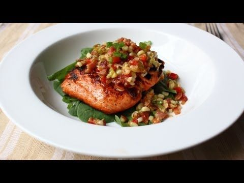 Grilled Salmon with Bacon & Corn Relish - Salmon with Warm Sweet Corn and Bacon Relish Recipe - -