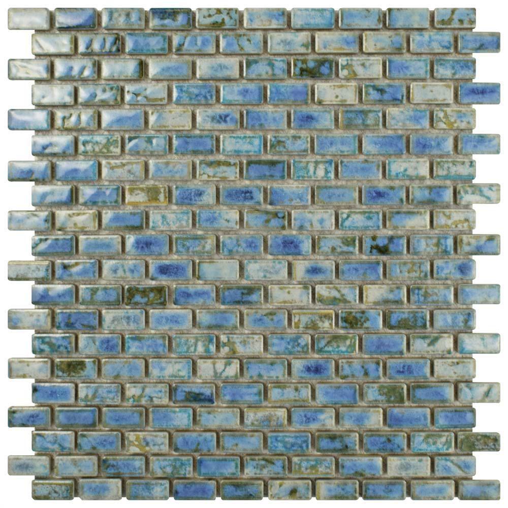 Merola Tile Rustica Subway Neptune Blue 11 3 4 In X 11 3 4 In X 8 Mm Porcelain Mosaic Tile Fcp51rnp Porcelain Mosaic Porcelain Mosaic Tile Merola Tile