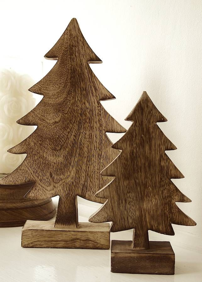 pair of wooden christmas tree decorations i saw these at homegoods got to have them - Wooden Christmas Decorations