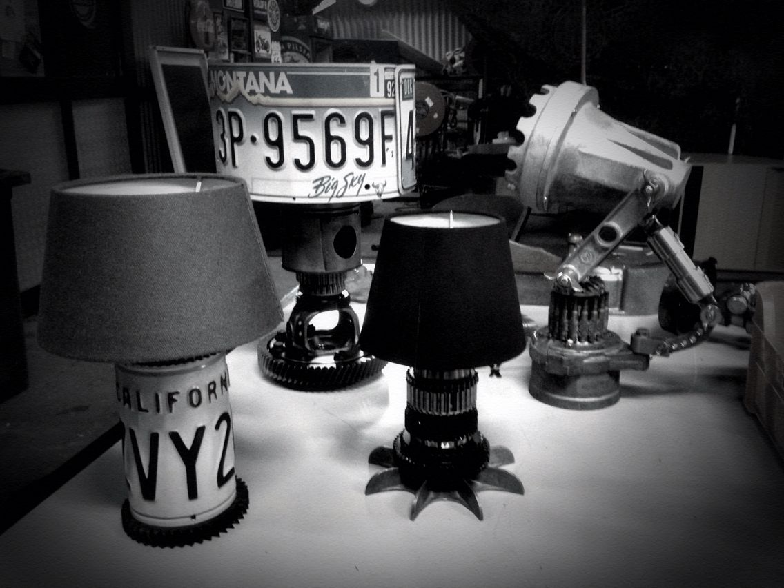 Asorti by brick amsterdam ,junk lamps , steampunk , license plate, desk lamp , industrial