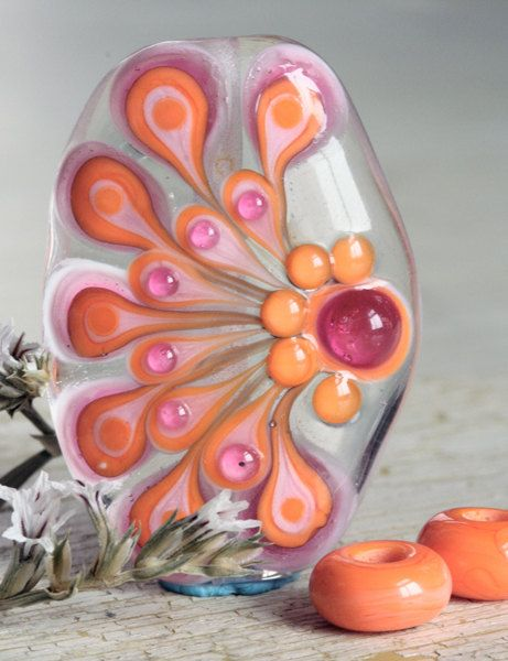Handmade Glass Lampwork Focal Bead Set  Firebug by Firebugbeads