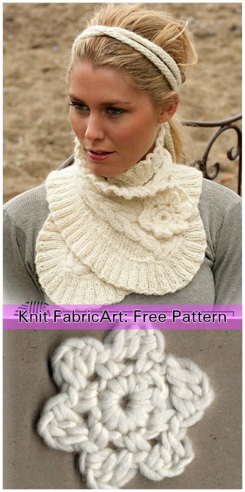 Cable Knit Scarf Neck Warmer With Flower Free Pattern Flower
