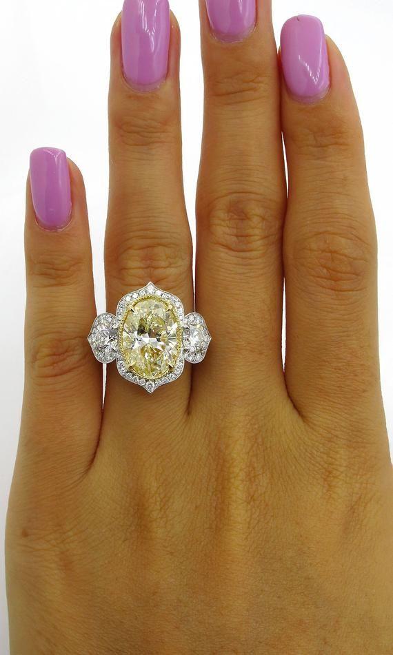 bb6b02bb6fcfe Huge 7.46ctw Natural Fancy YELLOW OVAL Cut Diamond Diamond 3 Stone ...