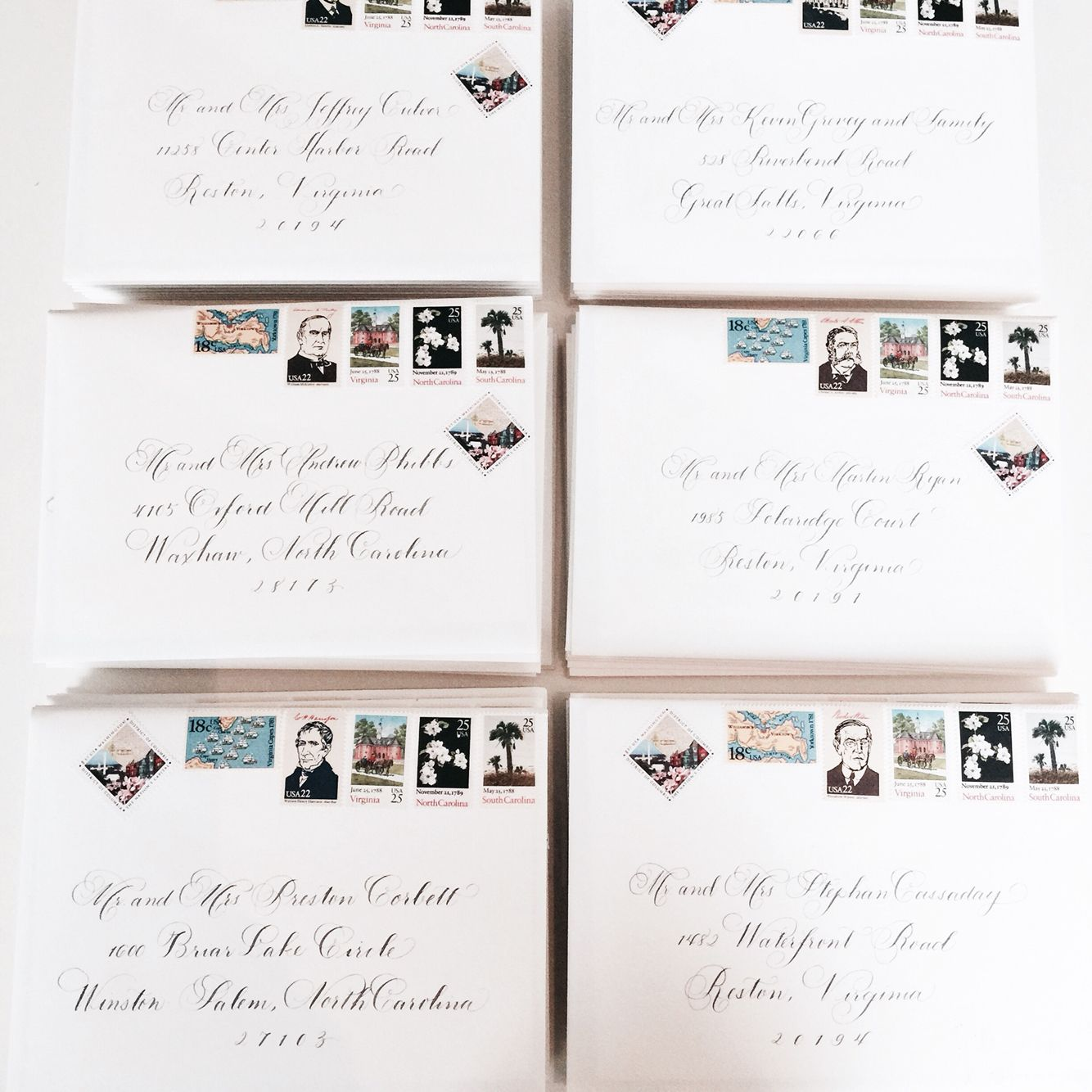 Calligraphy by Laura Hooper & stamps from Underwood Letterpress | Wedding Sparrow #FineArtCuration Vendor Guide Member