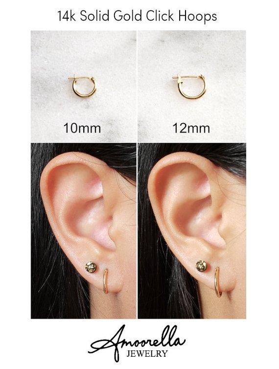14k Solid Yellow Gold Hoops 10mm 12mm 14mm Hoop Earrings White Gold Hoops Gold Hoops Earrings
