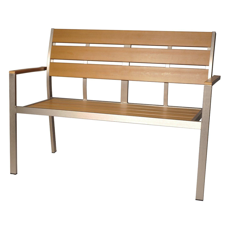 Gartenbank Aluminium Holz Teakbraun 2 Sitzer Gartenbank Teak Bank