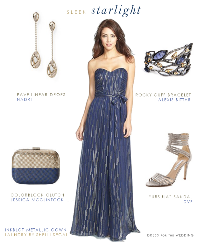 02a9f97f8c Metallic blue strapless gown via  dressforwedding