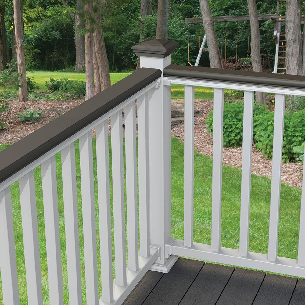 Veranda 8 Ft Nantucket Gray Decorative Rail Cover For Use With Traditional And Williamsburg Railing Patio Railing Deck Railing Design Porch Colors