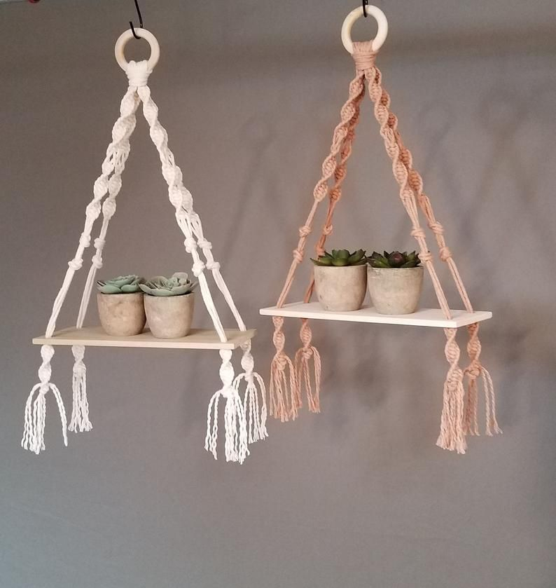 Tiny Macrame Wood Shelf, Macrame Wood Shelf, Boho