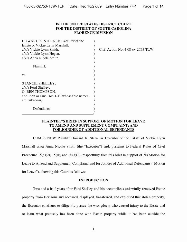 Answer To Civil Complaint Example Unique Memo In Support Motion To Amend And Add Defendants Memo Printable Business Cards Templates