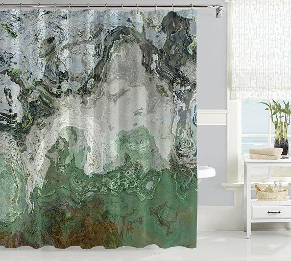 Abstract Shower Curtain Contemporary Bathroom Decor Gray And