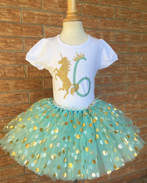 c9aaf6d6 Girl's sixth birthday unicorn outfit, 6th Birthday tutu, mint pastel  unicorn Birthday, 6 years old s