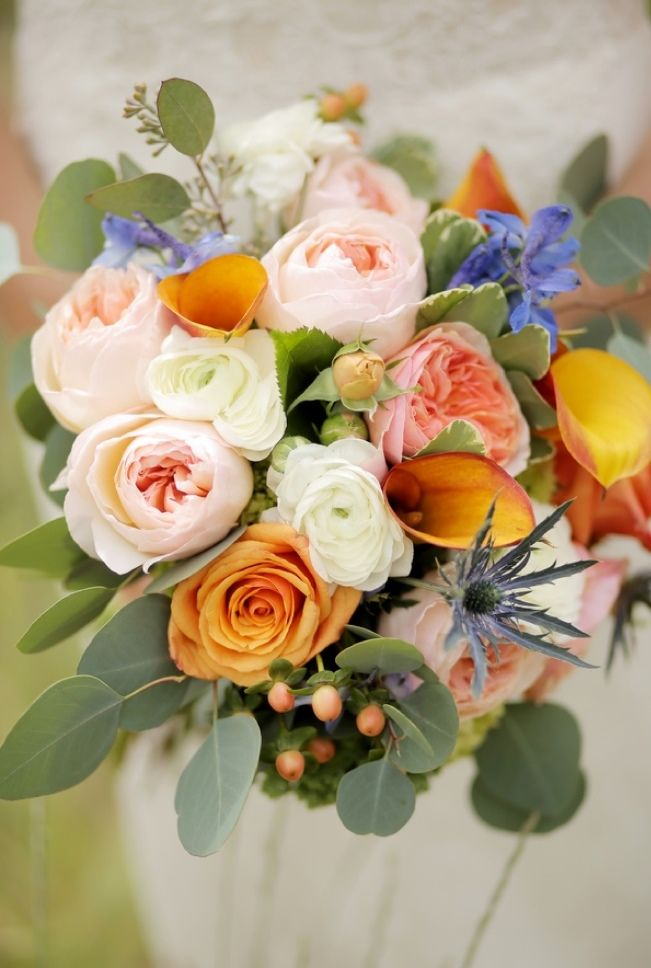 peach and orange bouquet - Mountain Chic Destination Wedding at Deer ...