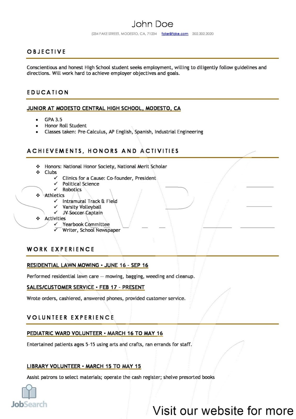 Resumes for High School Students 2020 Resume For Students