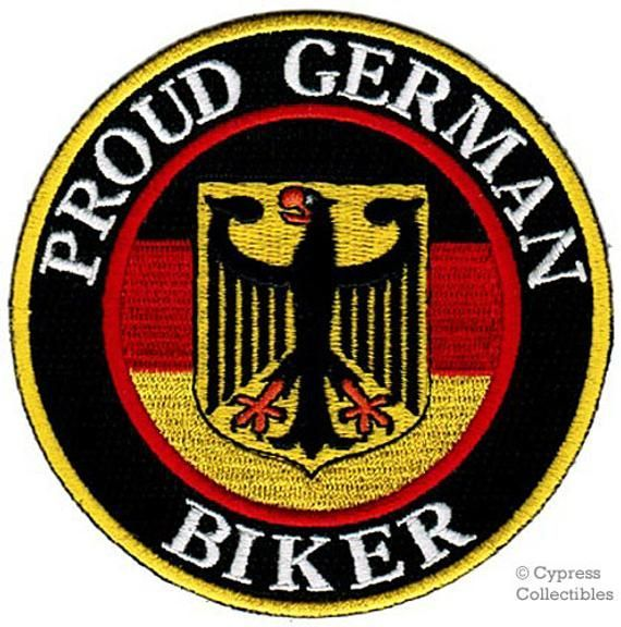 PROUD GERMAN BIKER patch embroidered ironon Germany Flag applique PROUD GERMAN BIKER patch embroidered ironon Germany Flag applique