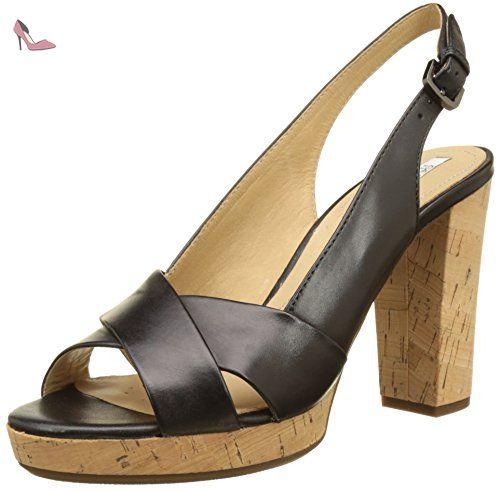 Chaussures à bout ouvert Geox noires femme iDeAEoI