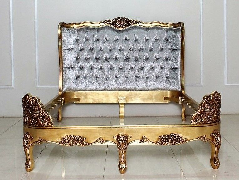 Versailles Tufted Bed, Shown in Gold with Crushed Silver velvet in