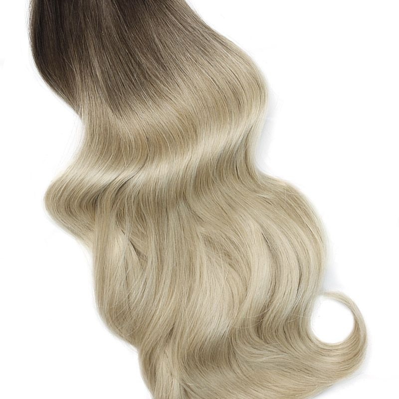 Vanilla Frappe Ombre Seamless Clips In Human Hair Extensions