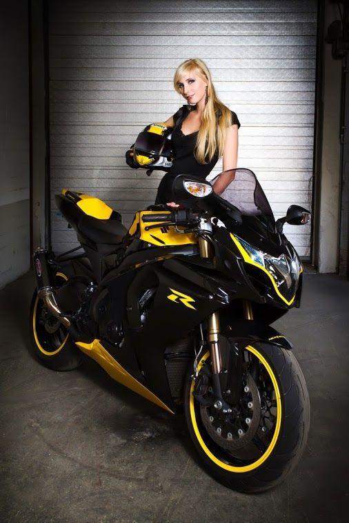 Blonde Bikerbabe With Her Suzuki Gsxr Sportbike Letsgetwordy