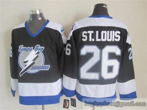 61e05e65f NHL Tampa Bay Lightning  26 Martin St. Louis Throwback Vintage CCM Black  White