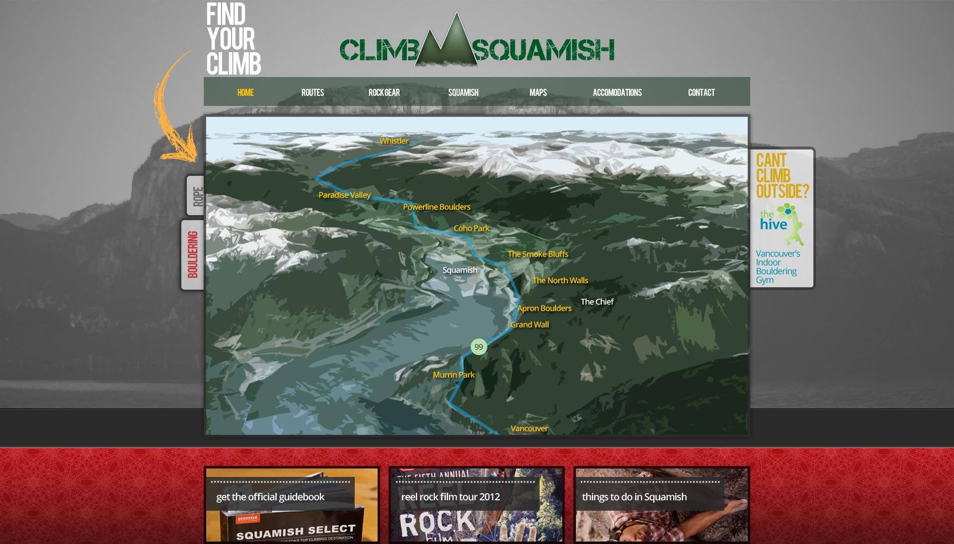 Climb Squamish Website Design And Mockup Www Yourdesignhere Ca Vancouver Graphic Design Web Print Mobile Devel Website Design Your Design Guide Book