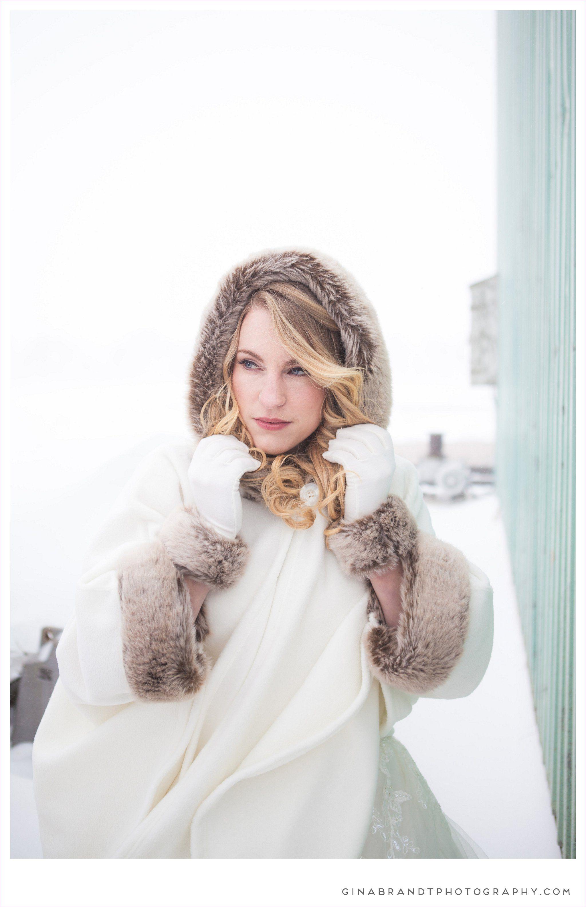 Preloved pronovias wedding dresses  Winter Wedding Photography  fur trimmed knit cashmere hooded poncho