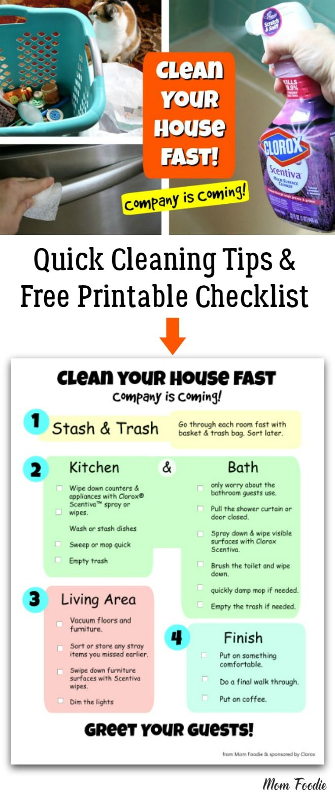 Quick House Cleaning Tips Free Printable Checklist Cleaning Hacks House Cleaning Checklist Quick Cleaning