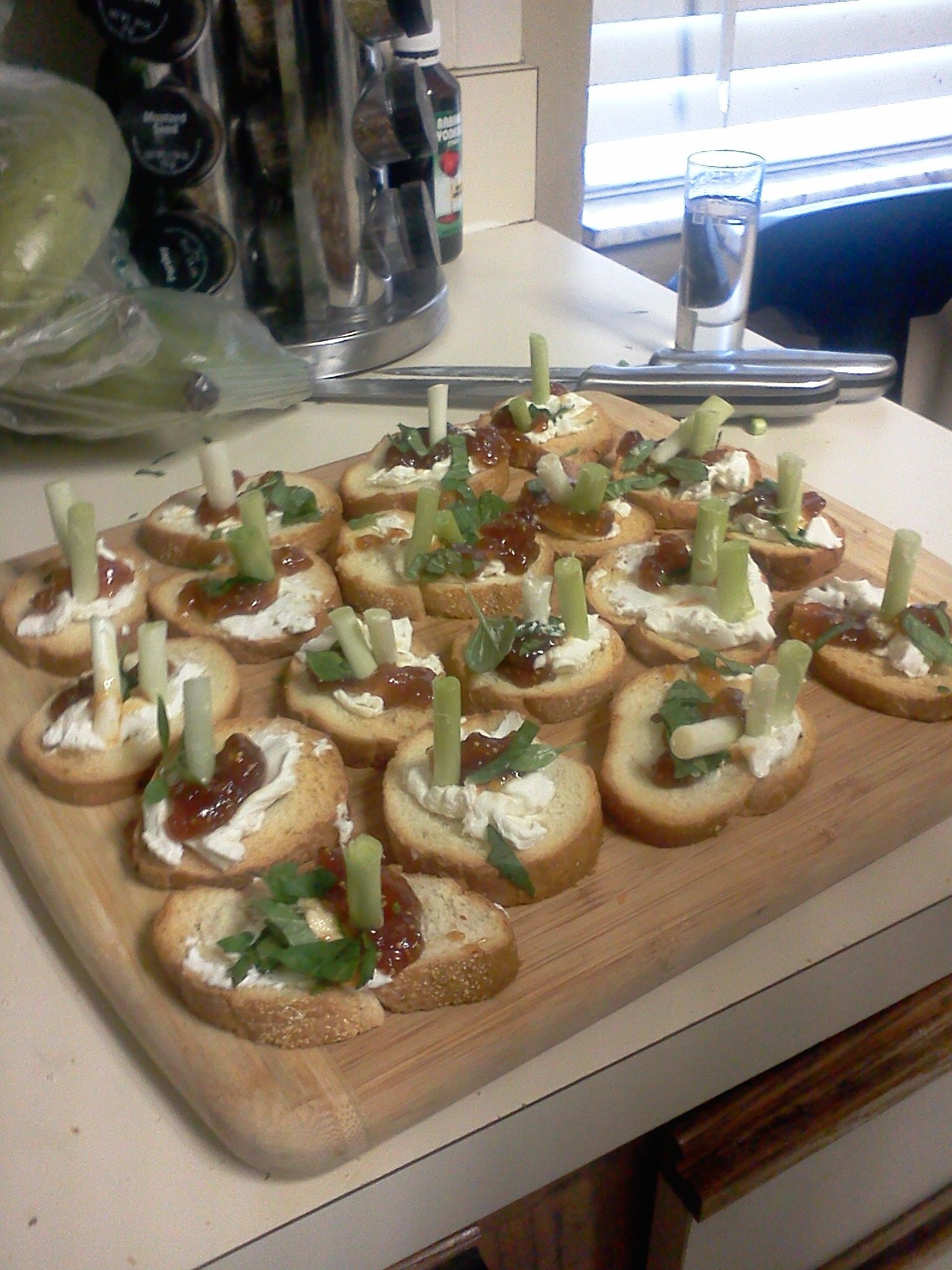 goat cheese, fig paste & scallions