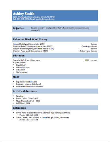 multi purpose teen resume