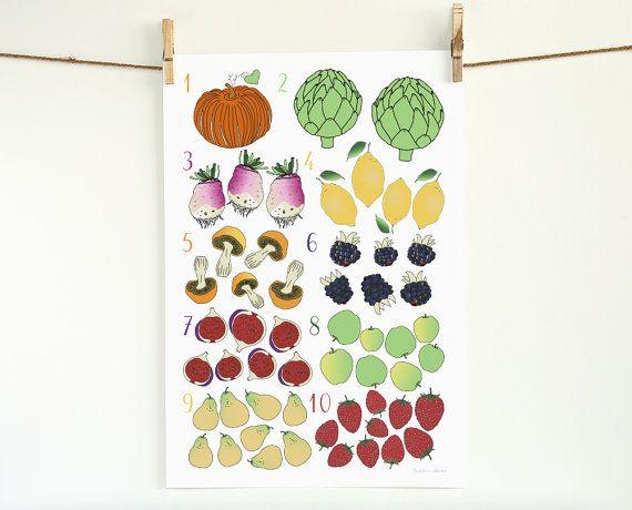 nursery art Numbers fruit vegetable herb plant poster 13x19 art print home decor children's room  French Food plant garden botanical