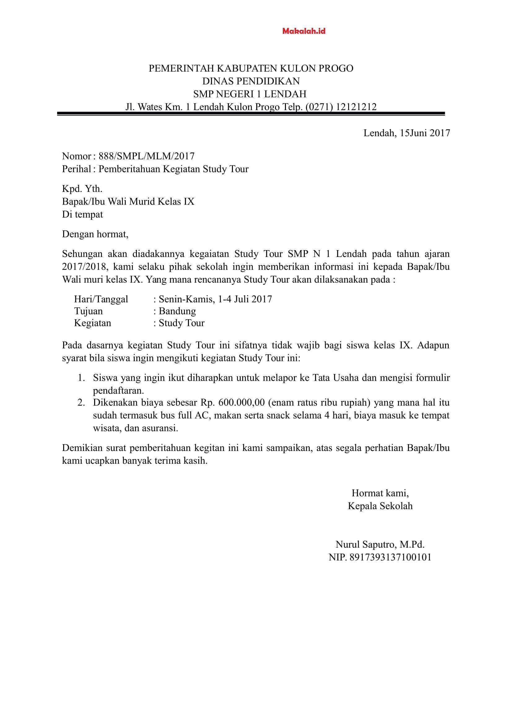 Contoh Surat Pemberitahuan Kegiatan Karya Wisata Di 2021 Surat Tujuan Sekolah