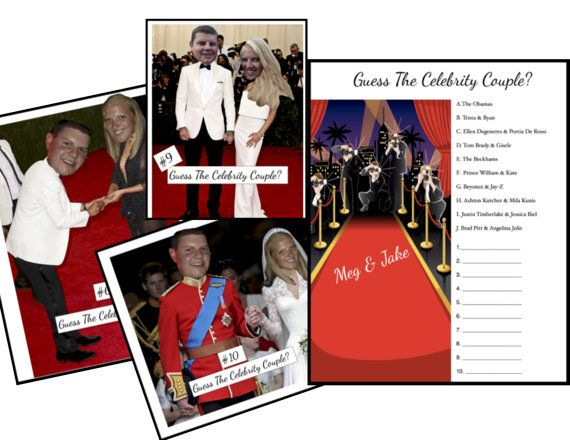 Guess The Celebrity Couple Game Wedding Shower Game Celebrity Couples Famous Celebrity Couples Bachelor Party Games