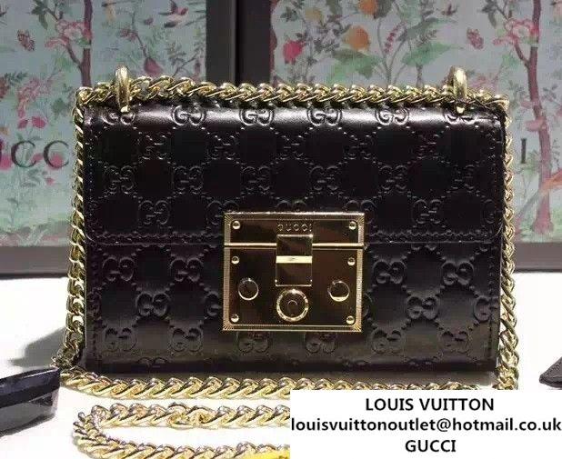 Gucci Padlock Gucci Signature Leather Shoulder Small Bag 409487 Black 2016 a99d86b72a276