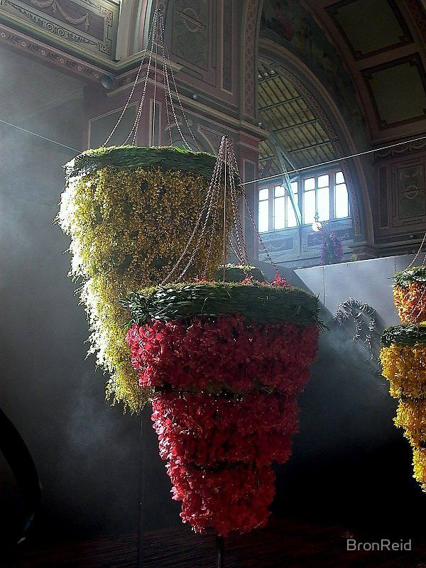 "MELBOURNE,Australia, ""Floral Chandeliers"", for the Melbourne International Flower Show by BronReid, pinned by Ton van der Veer"