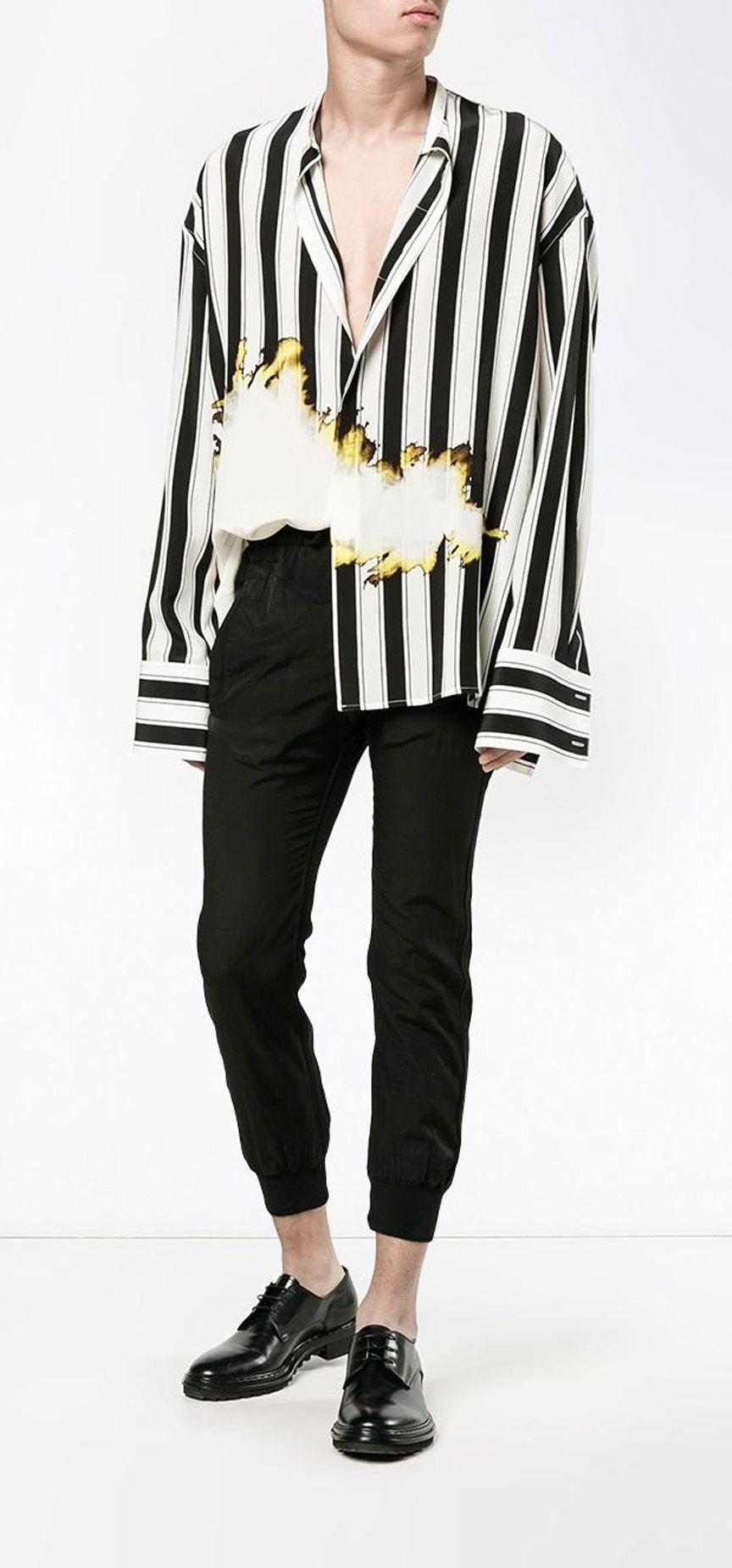 a710477df9 HAIDER ACKERMANN bleach and stripe print shirt, explore new season arrivals  on Farfetch.