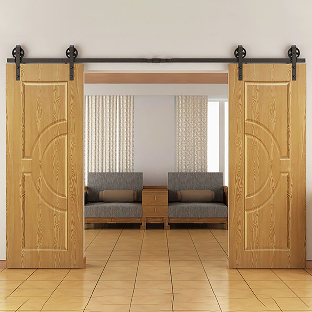 Free Shipping 5ft 6ft 8ft 10ft 12ft Vintage Strap Industrial Wheel Double Sli Double Sliding Barn Doors Barn Door Hardware Interior Doors For Sale
