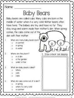 Baby Bears! Free reading comprehension passage! | español ...