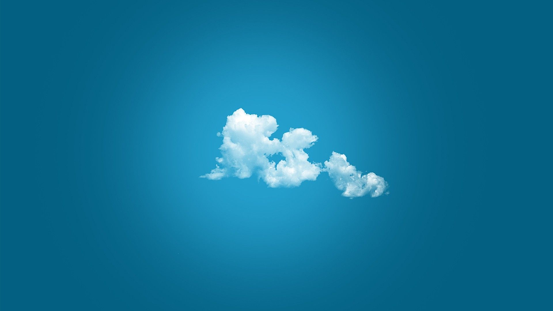 Minimalistic abstract clouds minimalistic skyscapes blue background / 1920x1080