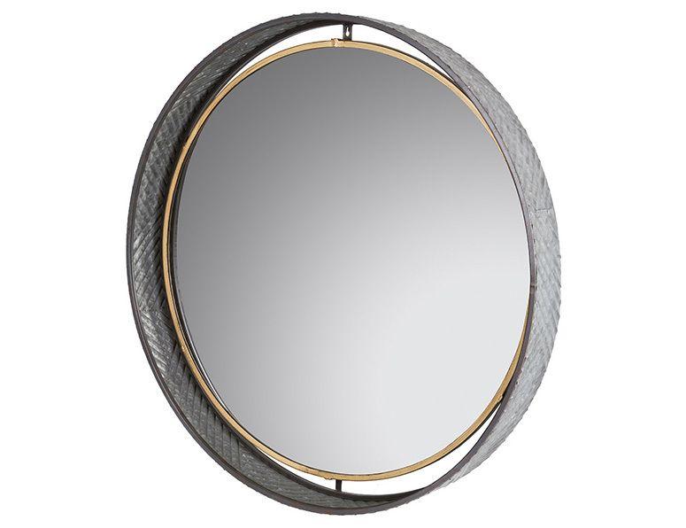 Espejo de Pared Redondo en Metal y Madera Abeto 10 x 80 x 80 cm ...