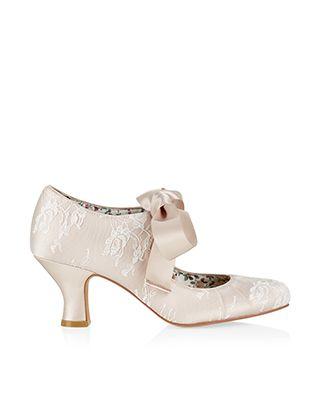 Grace Satin Bow Lace Dolly Shoe