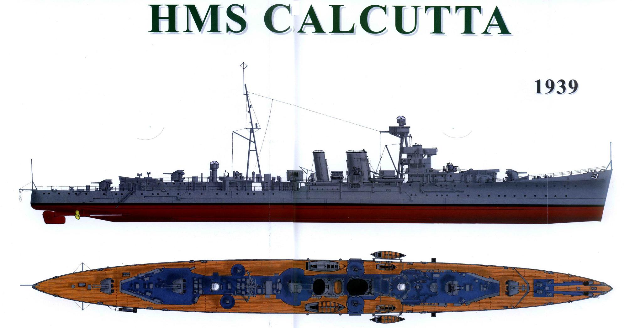 hms calcutta c class light cruiser   warships of wwii