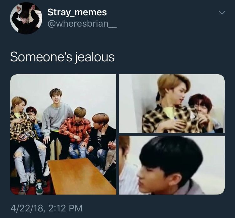 The Qns Is Jealous Of Who Tho Felix Or Hyunjin At Least I Think Felix Is Sitting On Him Crazy Kids Felix Stray Kids Kid Memes
