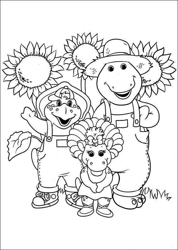 Barney och vänner Målarbilder för barn. Teckningar online till skriv ...